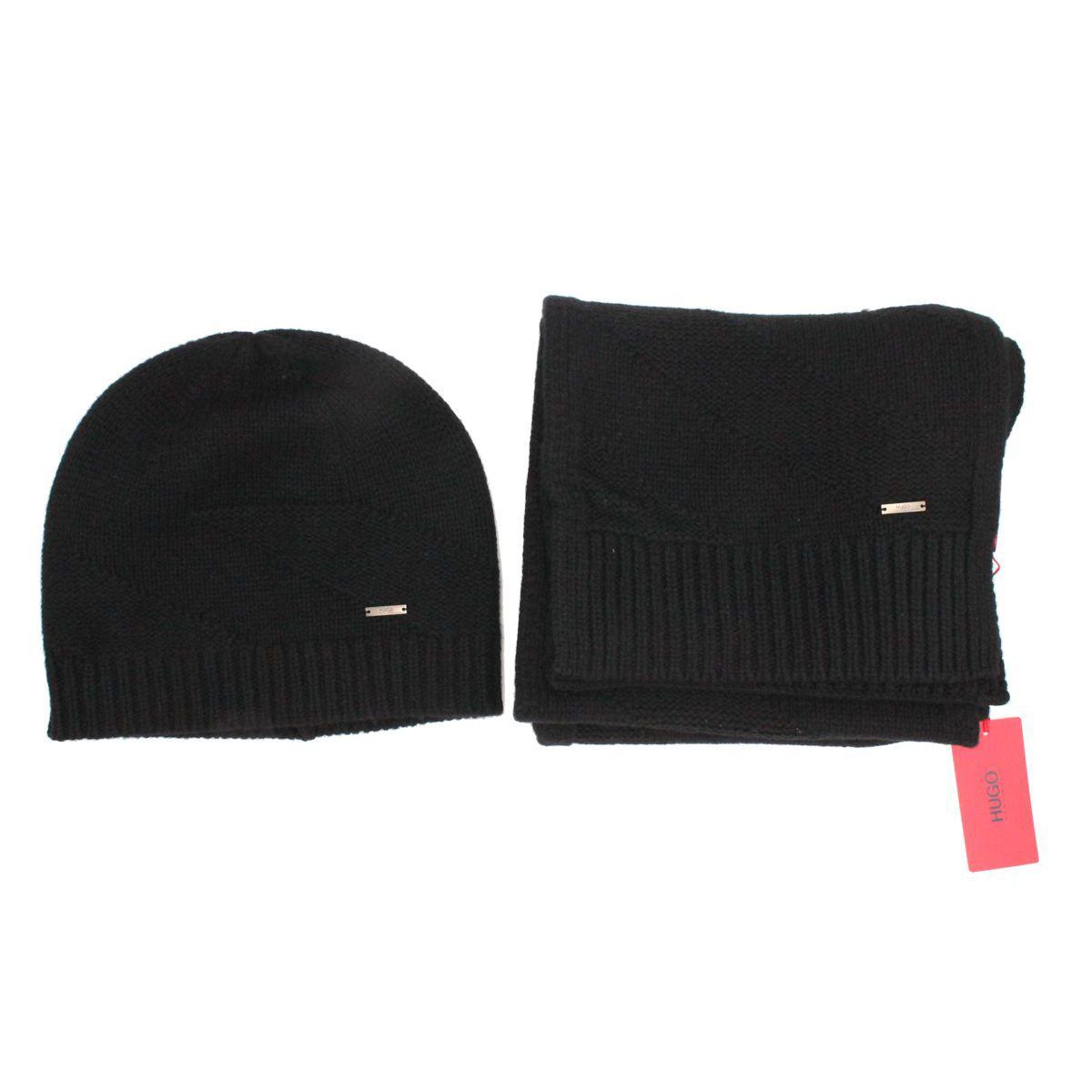 Set cappello e sciarpa Nero Hugo