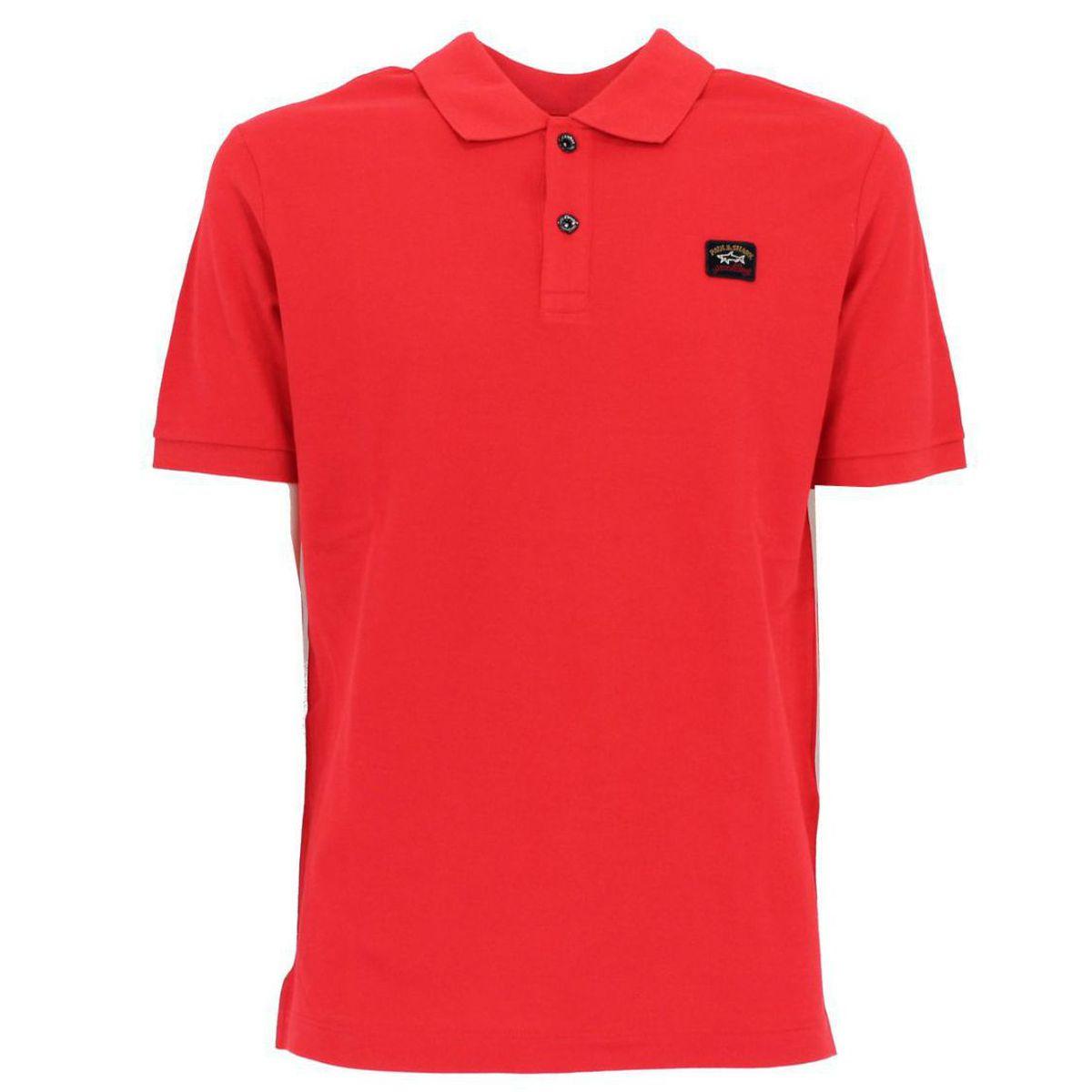 Polo in cotone con logo Rosso PAUL & SHARK