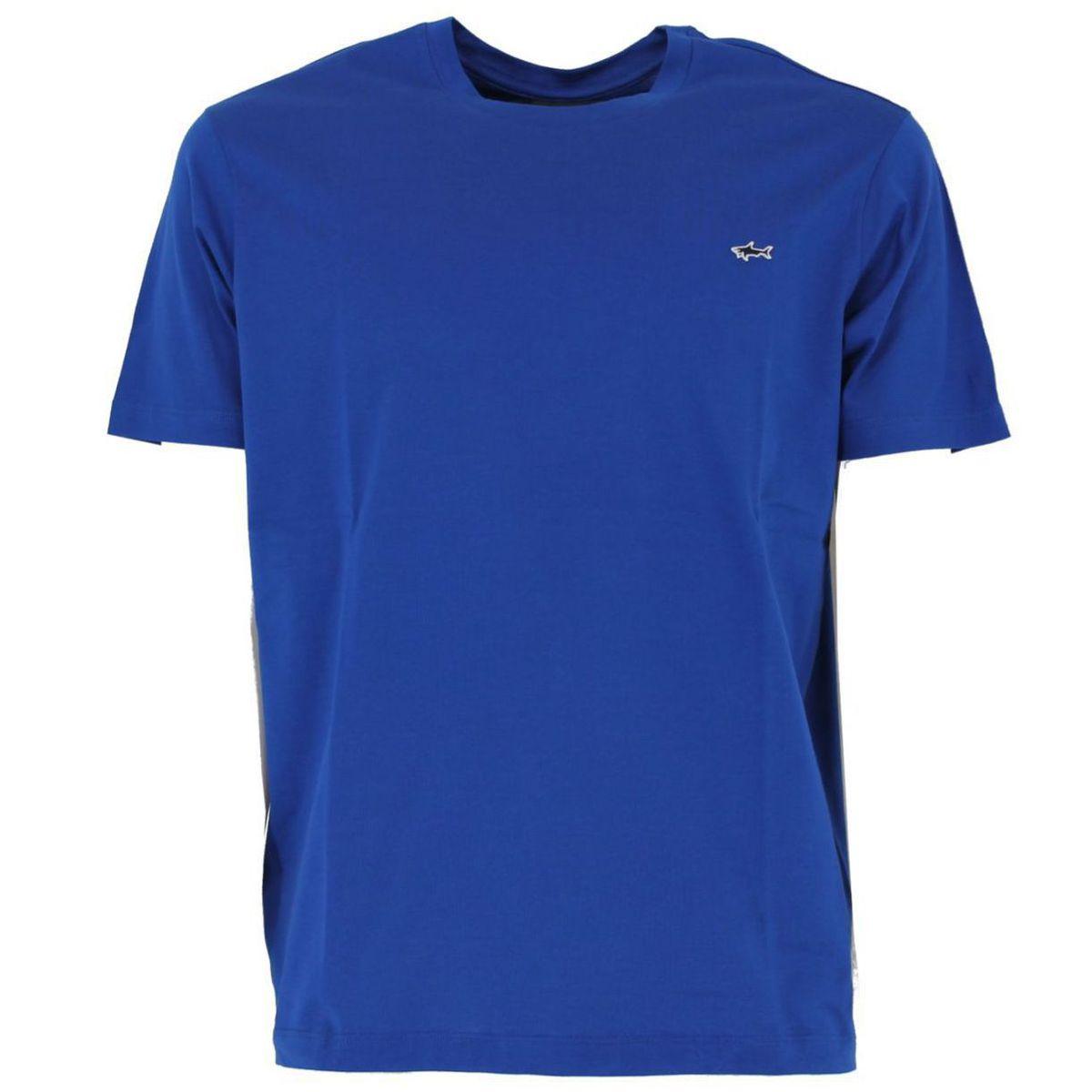 T-shirt in cotone con logo ricamato Azzurro PAUL & SHARK