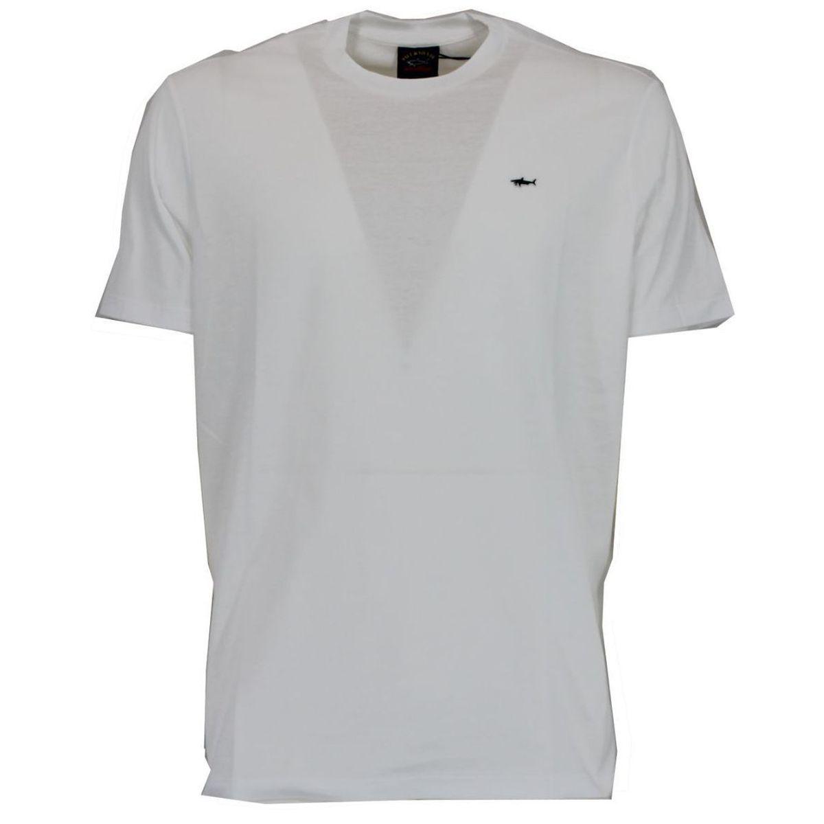 T-shirt in cotone con logo ricamato Bianco PAUL & SHARK