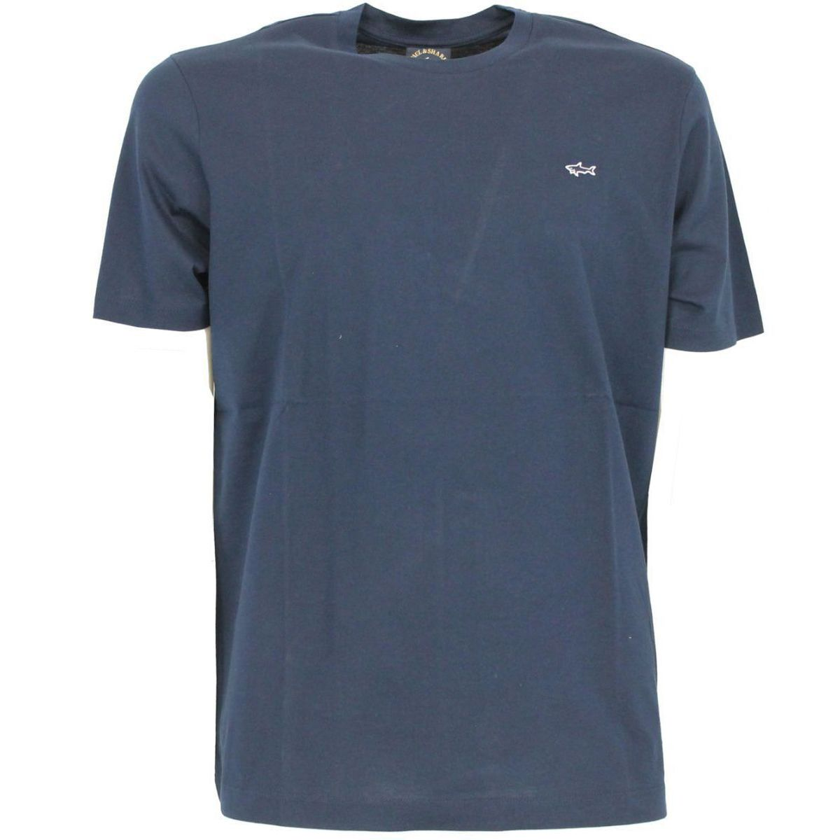 T-shirt in cotone con logo ricamato Blue PAUL & SHARK