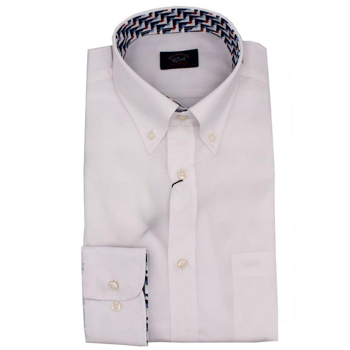 Camicia in cotone con stampa fantasia a contrasto Bianco PAUL & SHARK