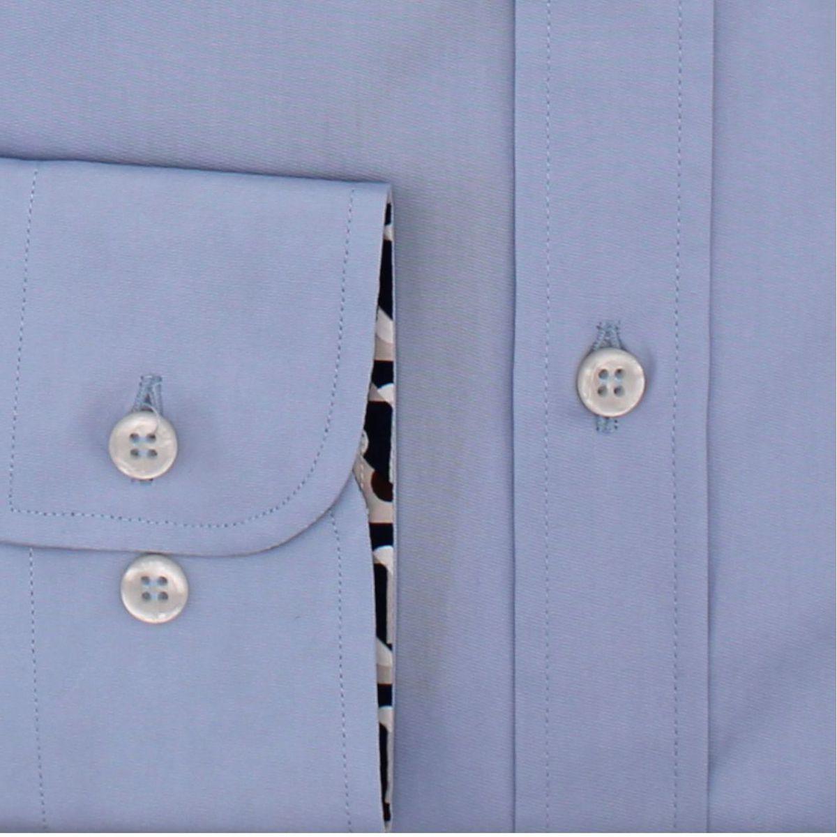 Camicia in cotone con stampa fantasia a contrasto Celeste PAUL & SHARK