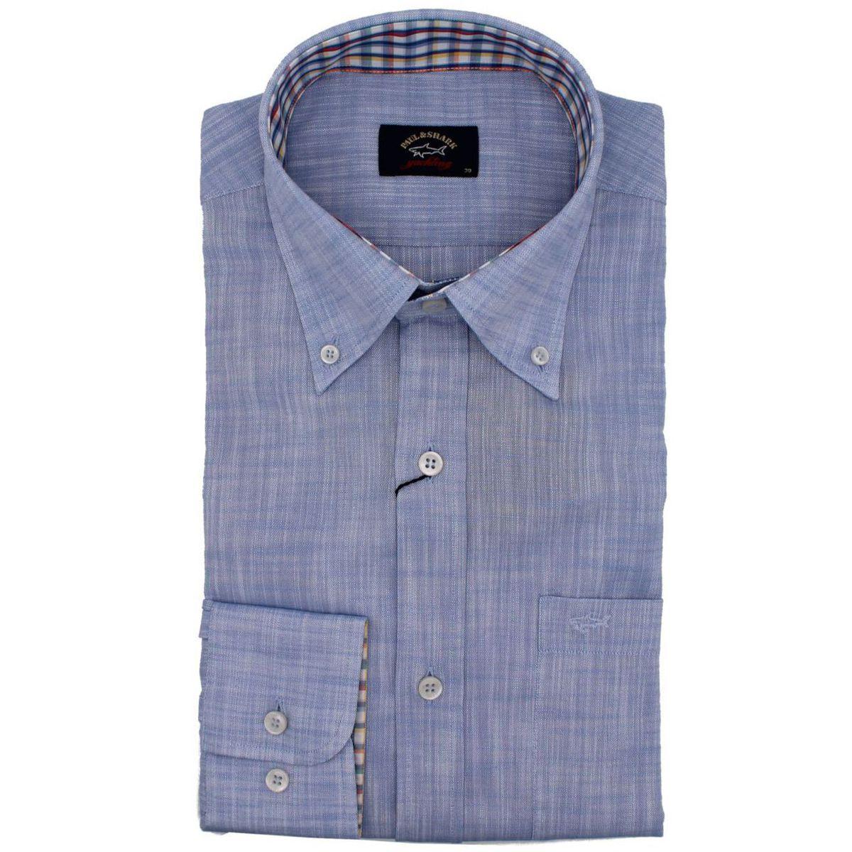 Camicia in cotone con contrasto a quadri Celeste PAUL & SHARK