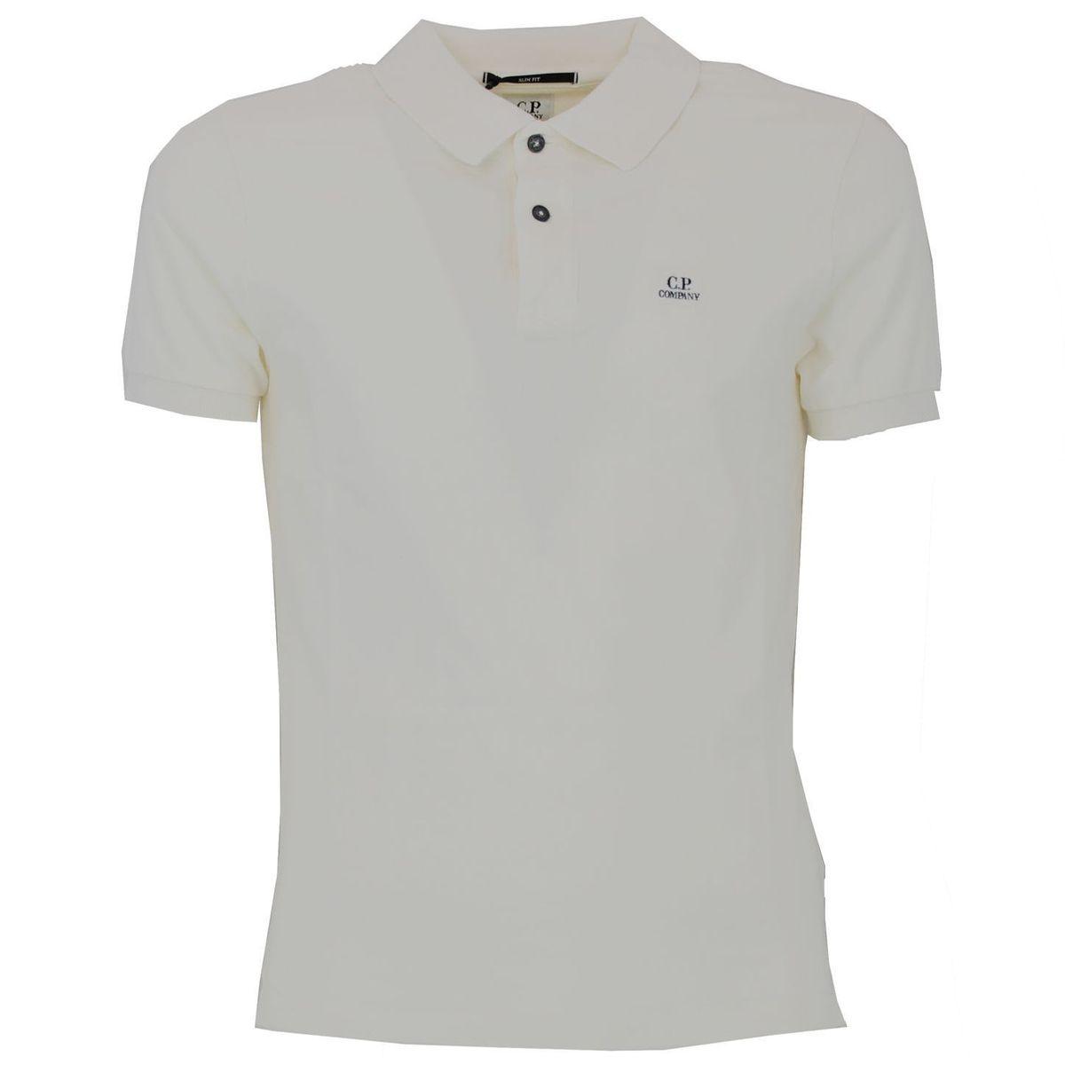 Polo con logo Bianco C.P. Company
