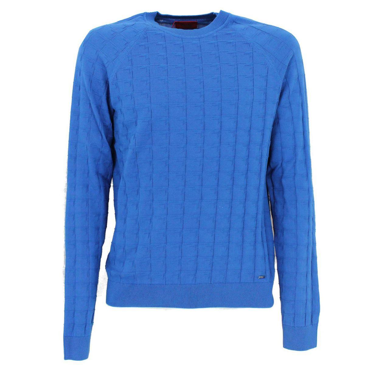 Maglia regular fit in cotone Azzurro Hugo
