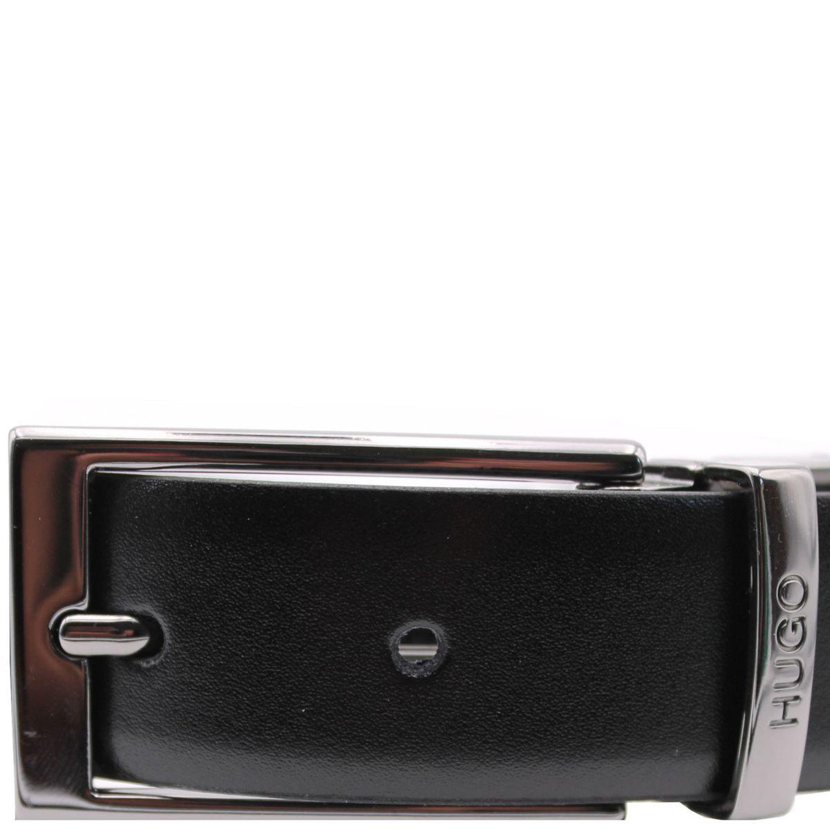 Cintura in pelle con fibbia in metallo Nero Hugo