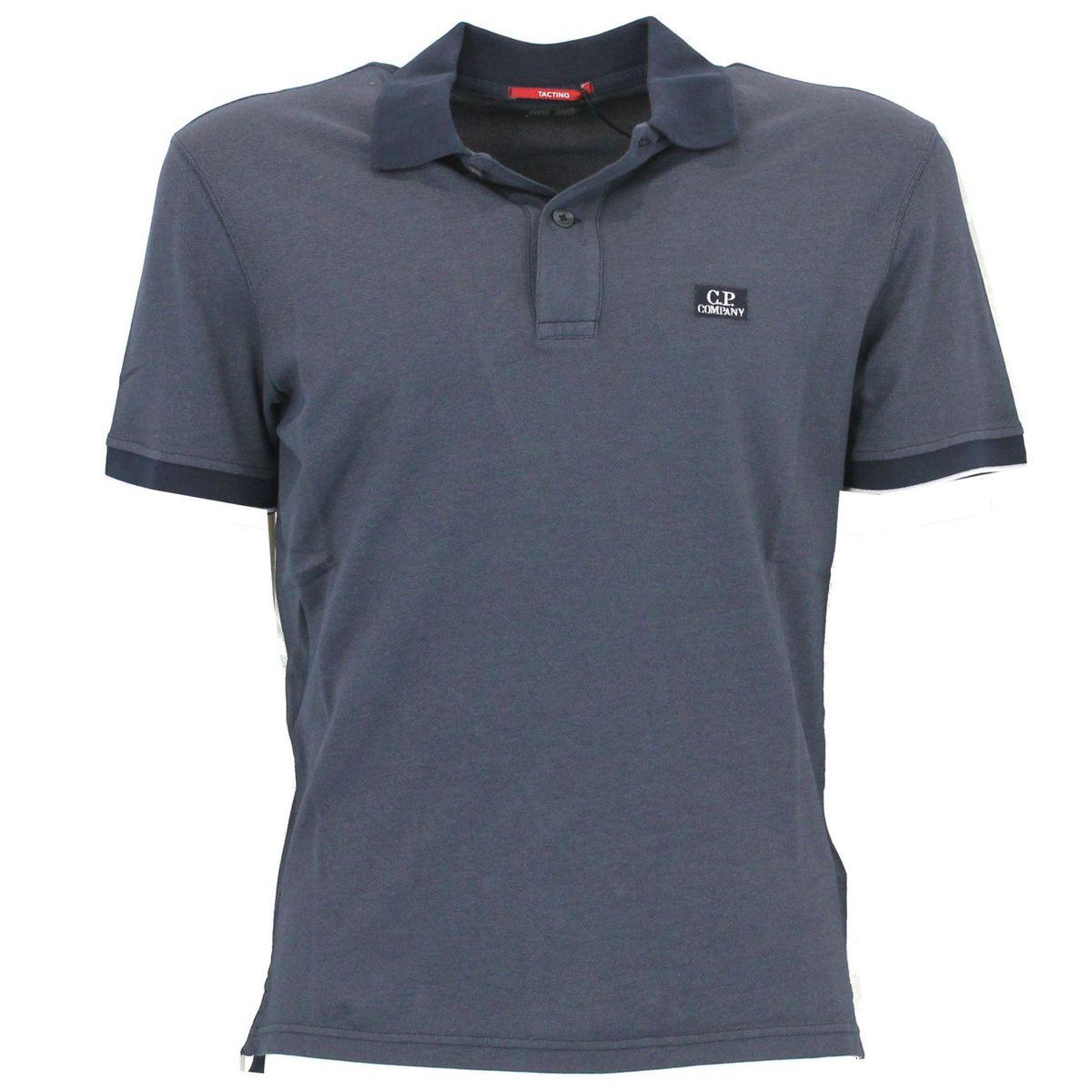 Polo in cotone con logo ricamato Blue C.P. Company