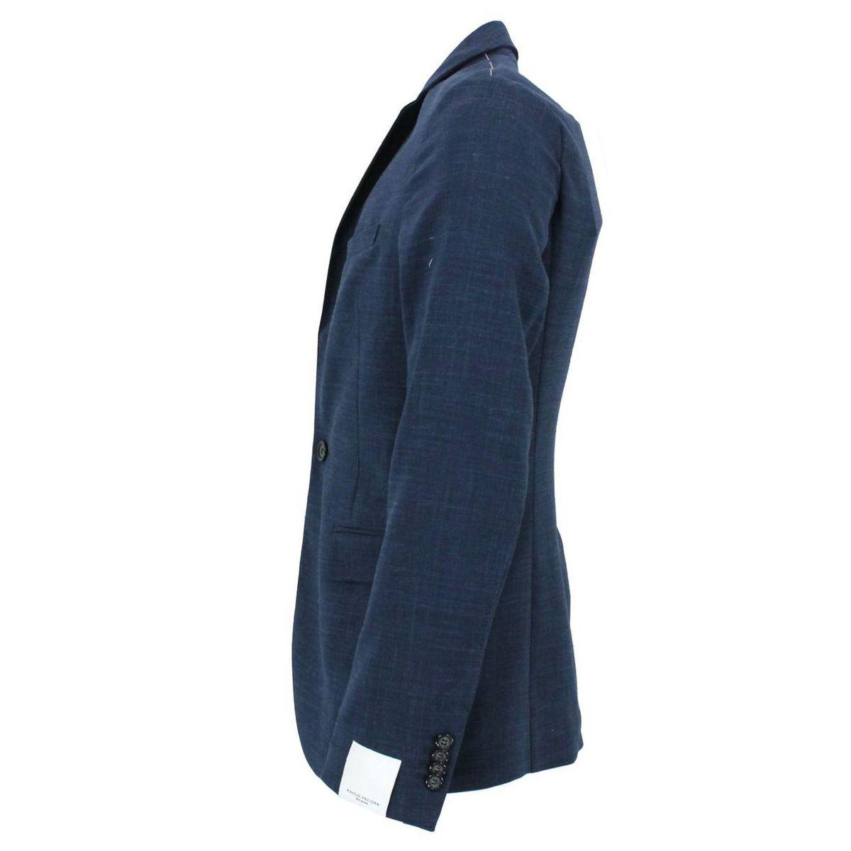 Giacca in tessuto blu Blue Paolo Pecora Milano
