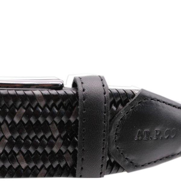 Cintura in pelle con motivo a spiga Nero At.p.co
