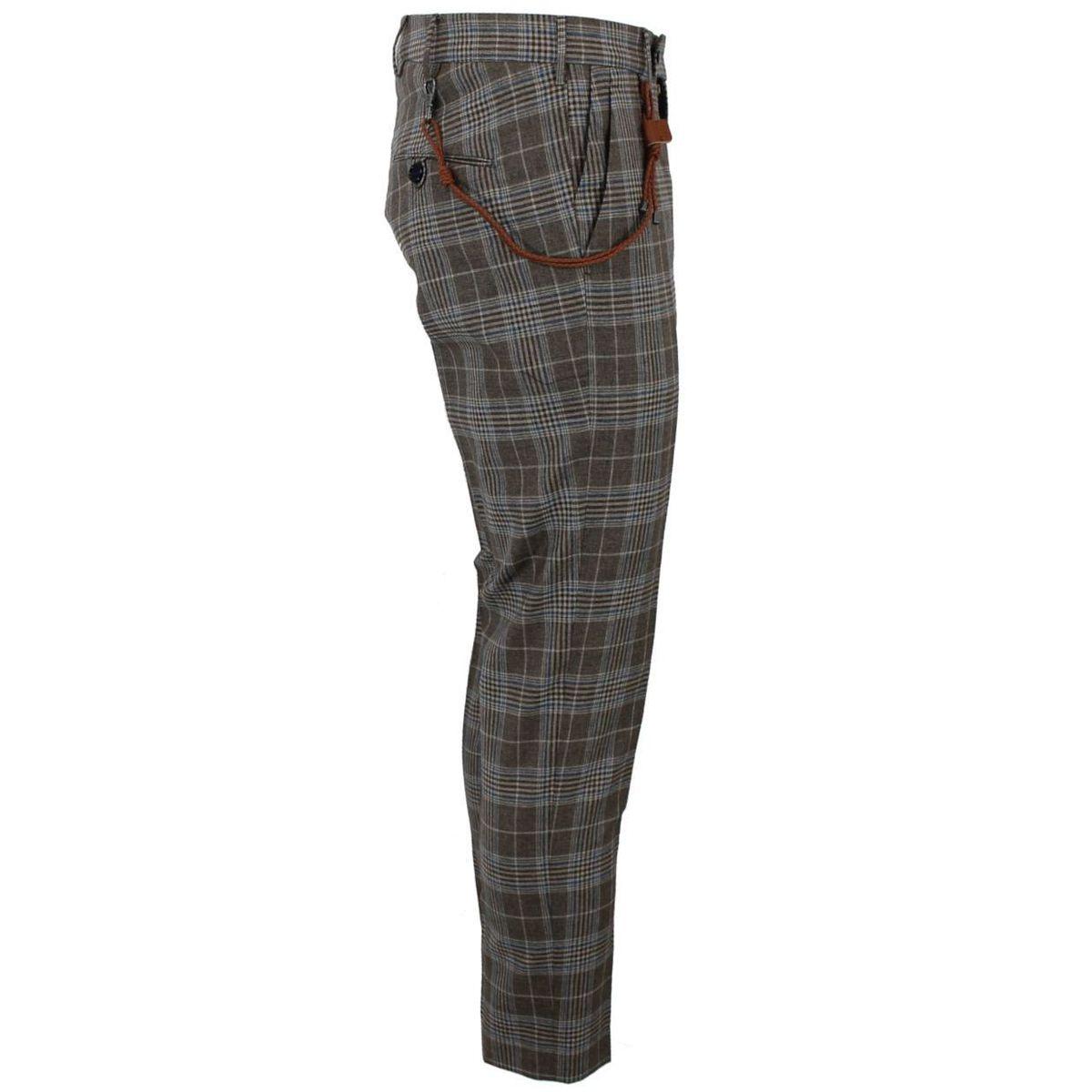 Pantalone tartan in cotone con laccetto intrecciato in pelle Marrone Berwich