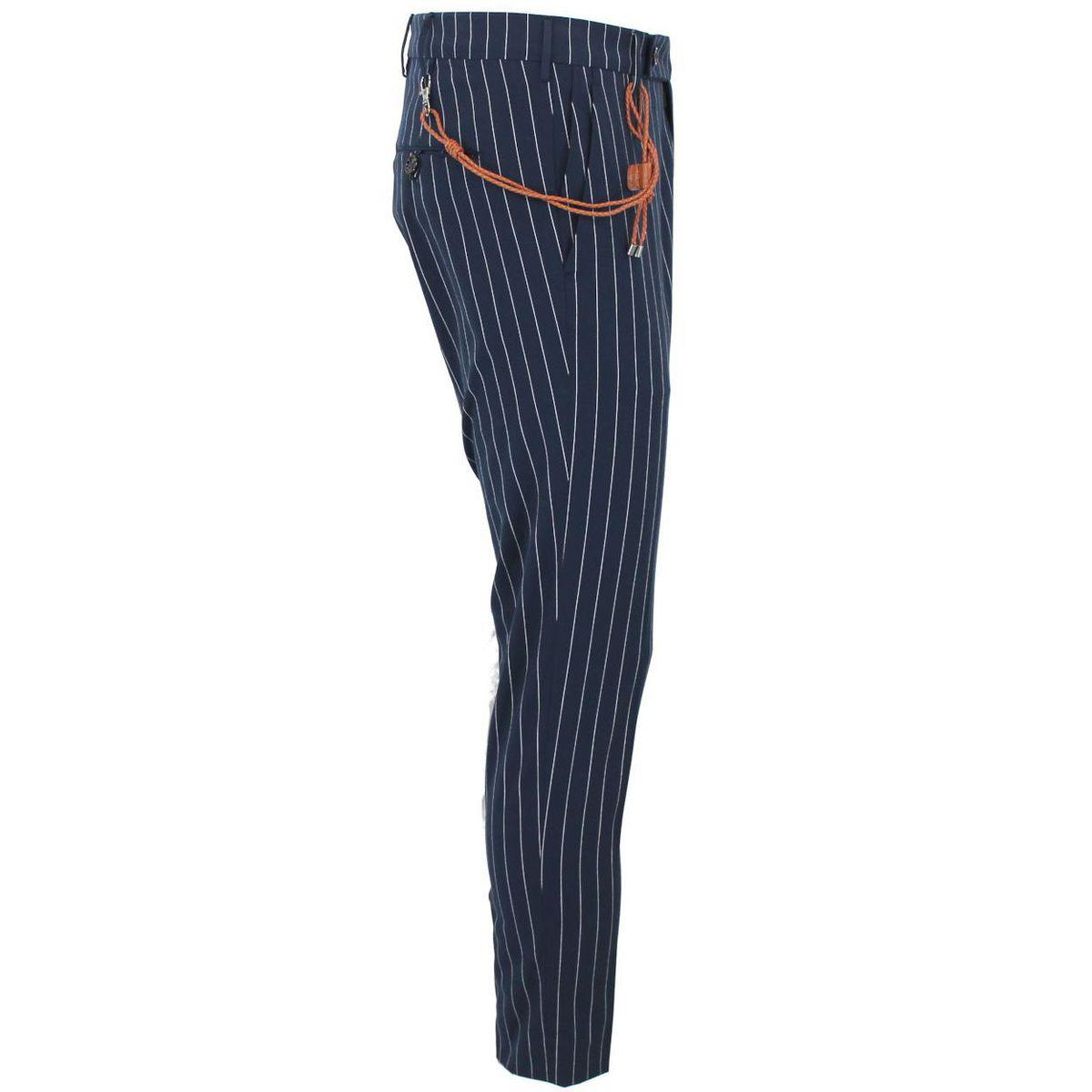 Pantalone in cotone blu a righe bianche con laccetto intrecciato in pelle Blue Berwich