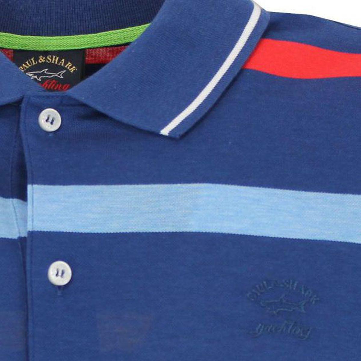 Polo 100% cotone a righe Azzurro PAUL & SHARK