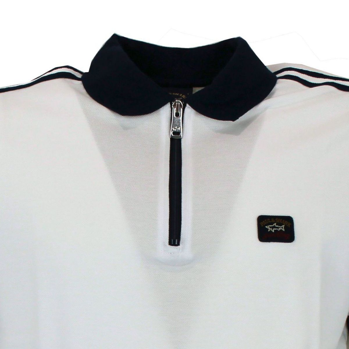 Polo in cotone pique con colletto in contrasto Bianco PAUL & SHARK