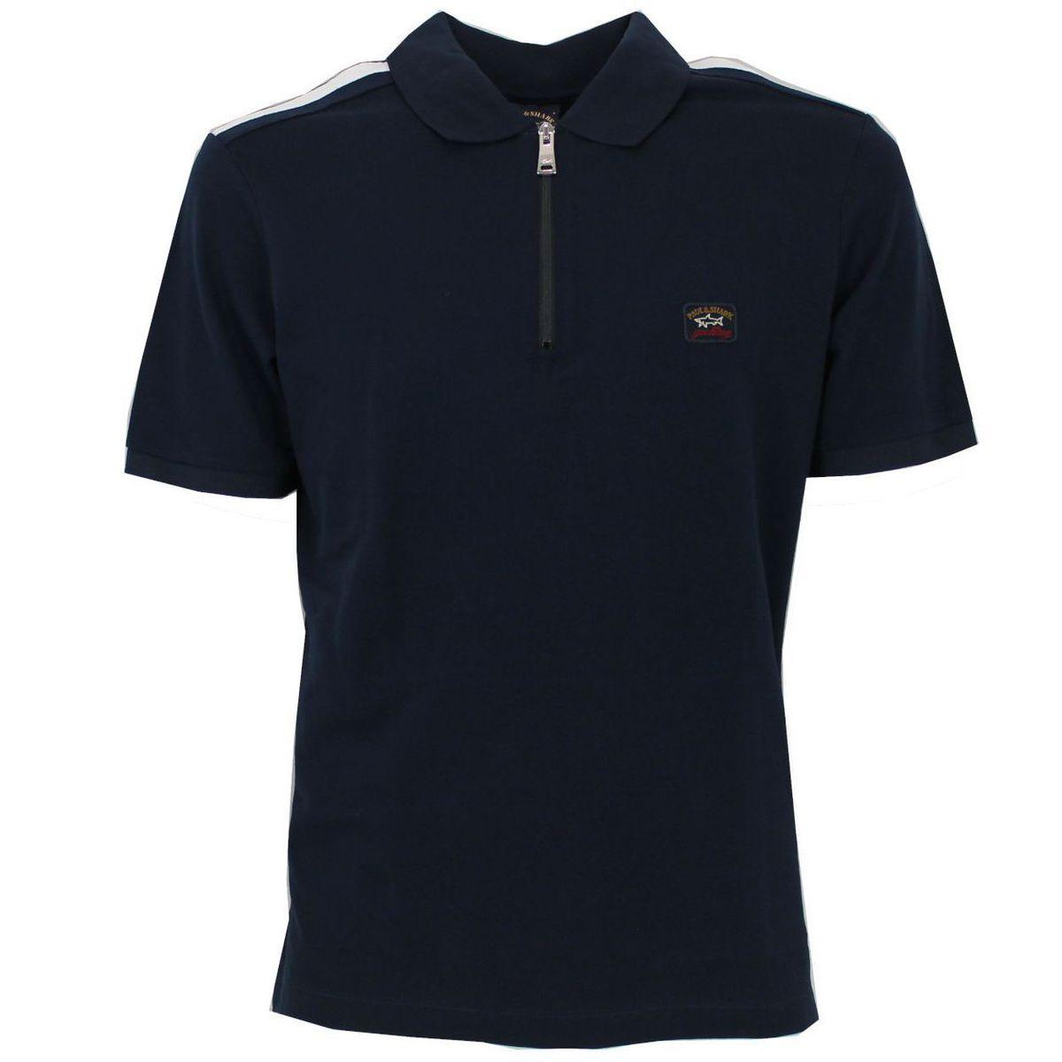 Polo in cotone pique con colletto in contrasto Blue PAUL & SHARK
