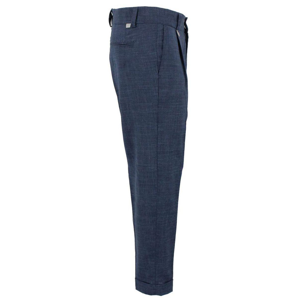 Pantalone chino tela misto lino Blue Paolo Pecora Milano