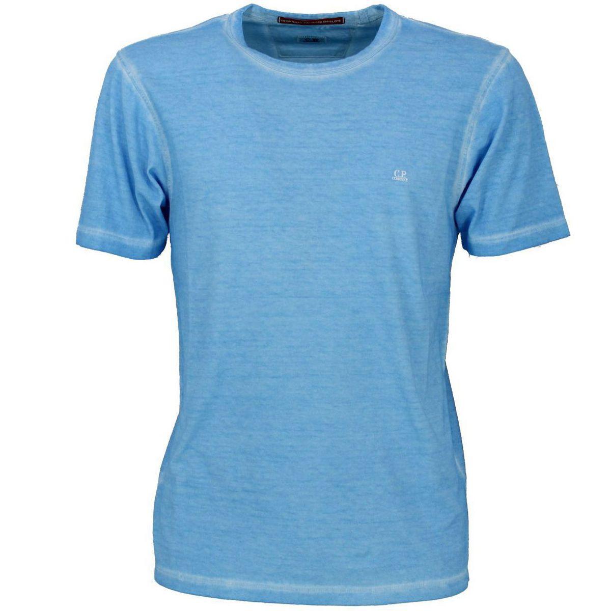 T-shirt girocollo in cotone Azzurro C.P. Company