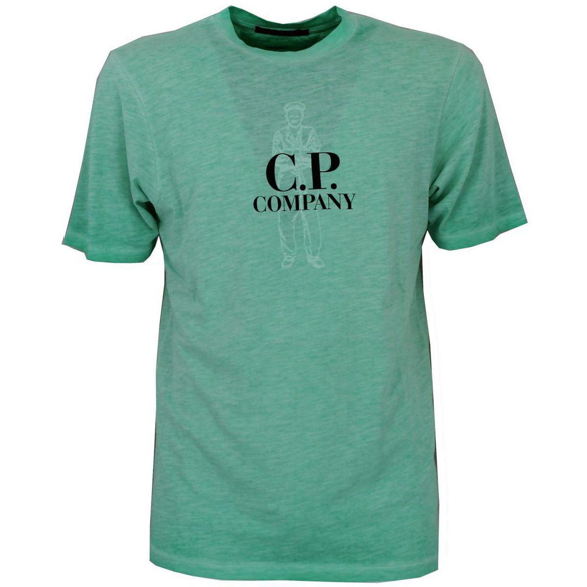 T-shirt in cotone pettinato in tintura re-colour Verde C.P. Company