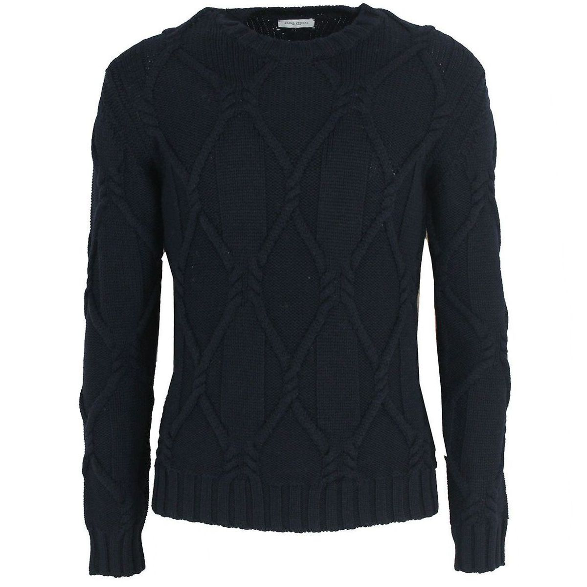 1. Maglione girocollo in pura lana vergine Blue Paolo Pecora Milano