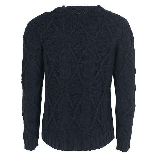3. Maglione girocollo in pura lana vergine Blue Paolo Pecora Milano